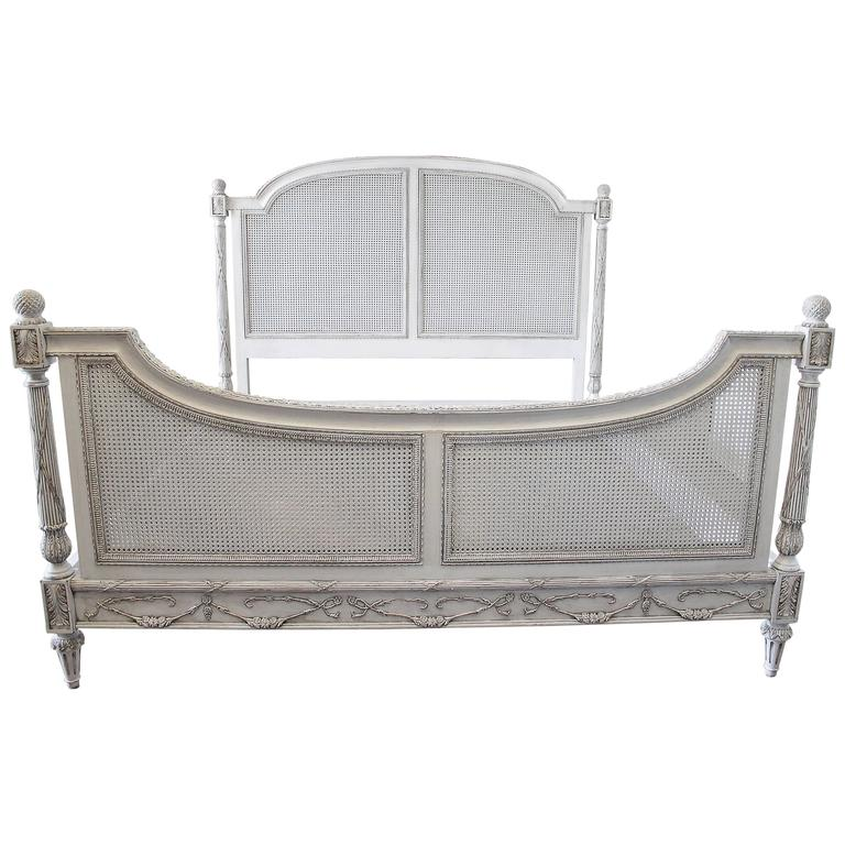 Vintage king size double caned french style bed at 1stdibs for Classic french beds