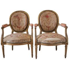 Pair of 19th Century Louis XVI Style Giltwood and Aubusson Chairs