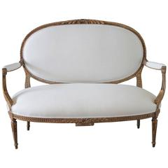 Louis XVI Style Giltwood Settee Upholstered in White Irish Linen