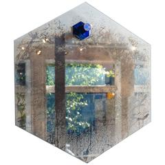 """Bronze, Glass and Silvered Hexagonal """"Ernst"""" Mirror by Gregory Nangle"""