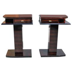 Fine Pair of French Art Deco Macassar Ebony Night Tables or End Tables, 1940