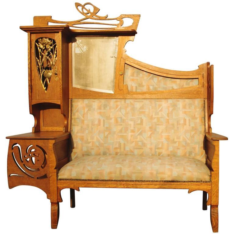 Rare French Flamboyant Art Nouveau Sofa, Ecole de Nancy, circa 1910