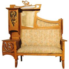 Rare French Flamboyant Art Nouveau Sofa, Ecole de Nancy, circa 1910