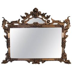 Oversized Antique French Gilt Overmantel Pediment Mirror, circa 1890