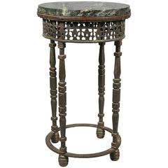 Oscar Bach Wrought Iron and Bronze Marble-Top Table