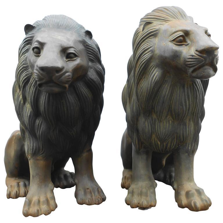 Pair of Bronze Lion Statues
