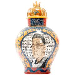 Contemporary Ruth Bader Ginsberg / Geronimo Decorative Porcelain Urn