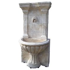 Large Carved Stone Wall Fountain from France