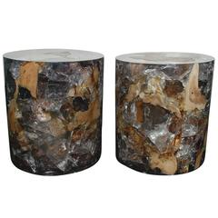 Pair of Cracked Resin Side Tables