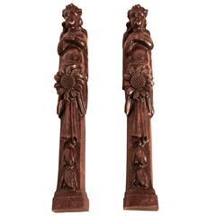 Pair of Early 19th Century Carved Walnut Caryatid, Winged Angels