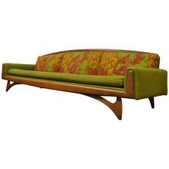 Kroehler Mid-Century Modern Walnut Sofa After Adrian Pearsall & Vladimir Kagan