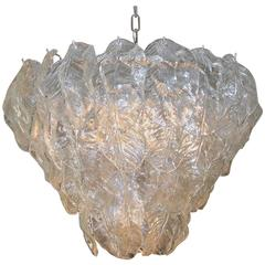 Large Italian Murano Mazzega Clear Glass Leaf Chandelier
