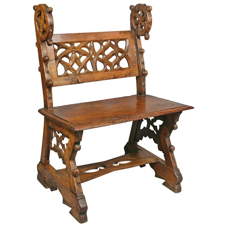 Gothic Fruitwood Bench For Sale