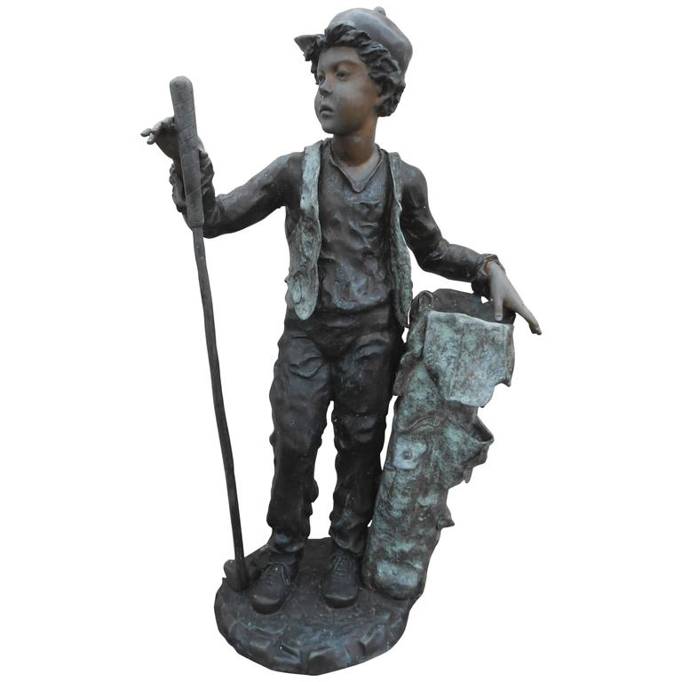 Bronze Garden Statue of Gold Caddy