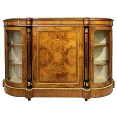 Fine Quality Burr Walnut and Ormolu Mounted Inlaid Victorian Period Credenza