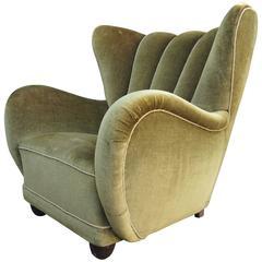Danish Art Deco Club Chair in Moss Green Mohair