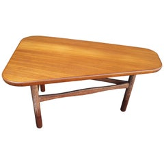 Danish Modern Teak and Limed Oak Three-Legged Table