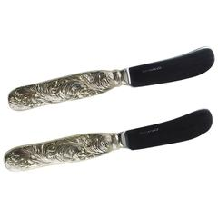 Tiffany & Co. Sterling Silver Chrysanthemum Pattern Pair of Butter Knives