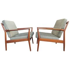 Pair of Teak Lounge Chairs by Borge Jensen & Sønner