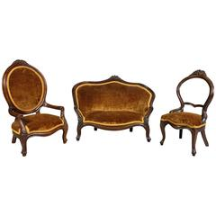 Unusual Suite of American Victorian Walnut Miniature Seating Furniture