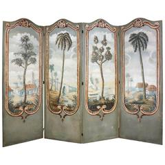 European Painted Canvas Four-Panel Screen
