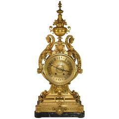 French Bronze Dore Clock with Figural Details by Houdebine & Fils