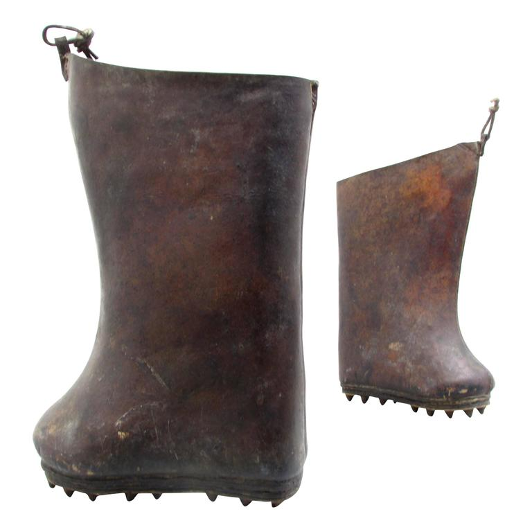 Sculptural Leather Rice Paddy Boots