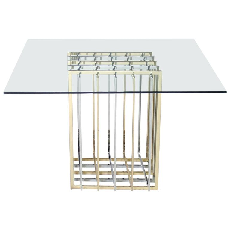 Pierre Cardin Mixed Chrome and Brass Grid Table 1