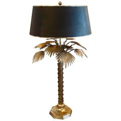 Bronze or Brass Palm Tree Lamp with Original Shade