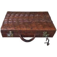 1930s Deluxe Leather Suitcase or Business Case with Realistic Alligator Pattern
