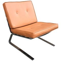 Mid-Century Modern Chrome Cantilever Lounge Chair