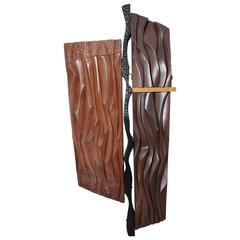 1960s Abstract Carved Wood Wall Sculpture