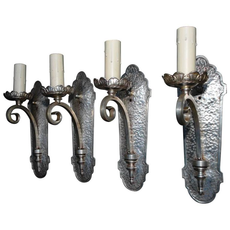 Elegant Set of Four 1920s Silver Plated Sconces 1