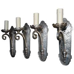 Elegant Set of Four 1920s Silver Plated Sconces ( two are sold )