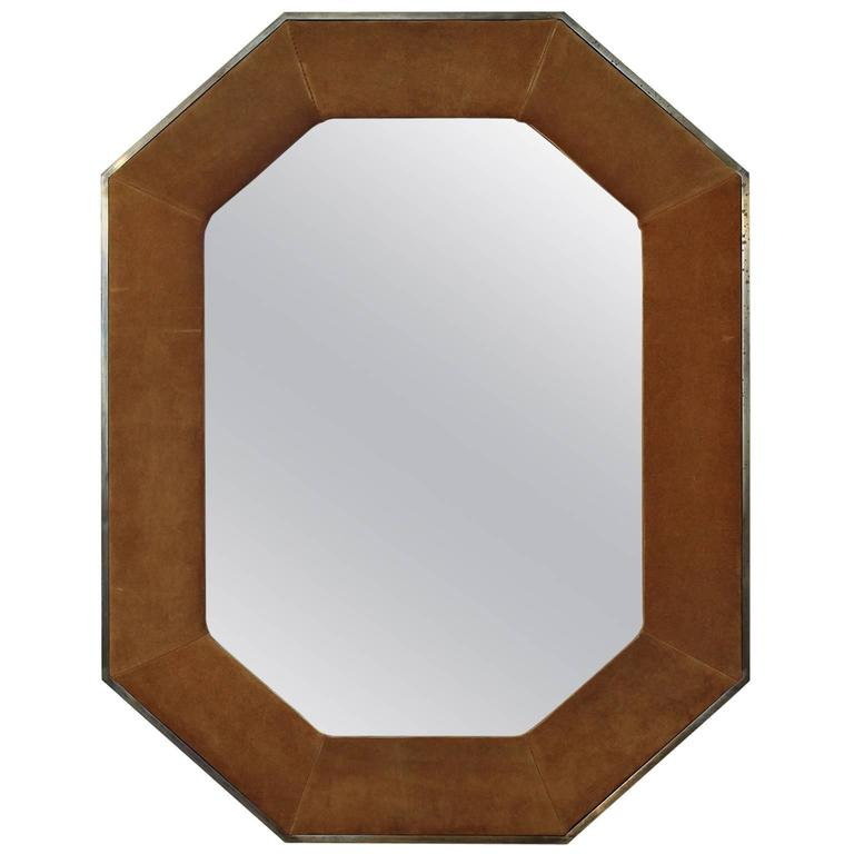 Widdicomb Leather and Brass Octagonal Mirror