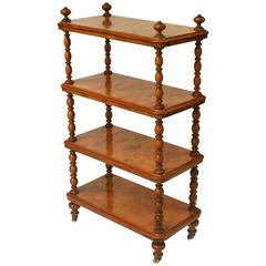 English Standing Shelves or Etagere of Burr Walnut