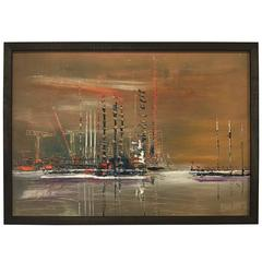 Pier Scene French Oil Painting on Board Signed Berne
