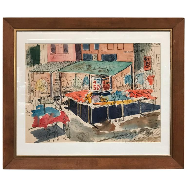 Watercolor of Maxwell Street in Chicago by David Segel For Sale