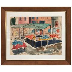Watercolor of Maxwell Street in Chicago by David Segel