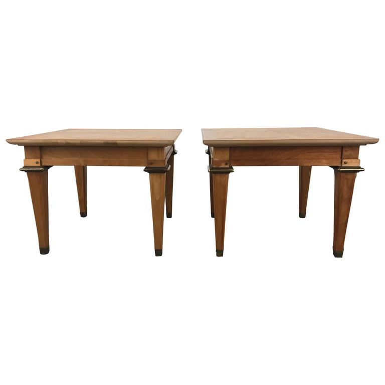 Stunning Pair of Burl and Brass Occasional Tables by Mastercraft