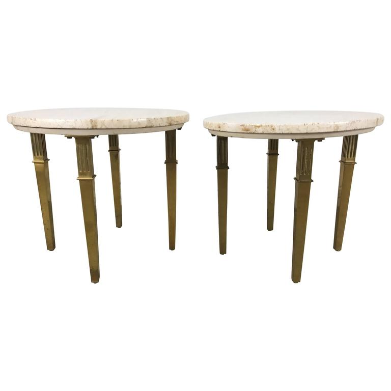 Pair Regency Marble and Brass Italian Tables Attributed to Mastercraft
