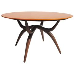 Stylized Mid-Century Game Table with Vitrolite Glass and Felt Playing Top