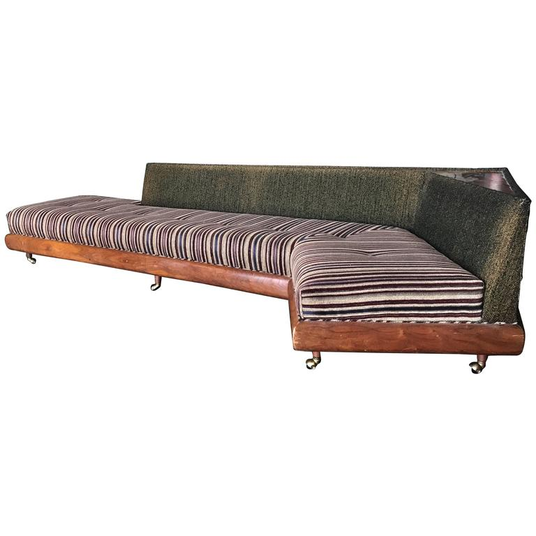 """Classic Modernist """"Boomerang"""" Sofa with Built in Table by Adrian Pearsall"""