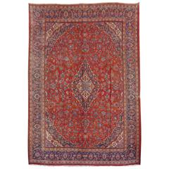 Large Kashan Persian Rug in Red, Blue and Beige