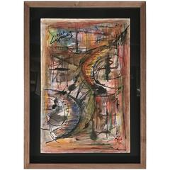 Tumultuous Abstract Watercolor and Pastel by French Painter France Cami