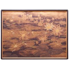 Monumental Wall Art Lyn Howley Water Lilies Lithograph on Board