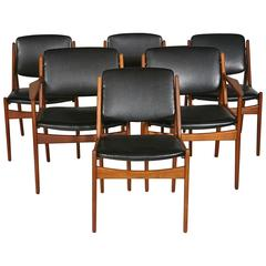 "Arne Vodder Denmark Teak Tilt Back ""Ella"" Dining Chairs, Set of Six"