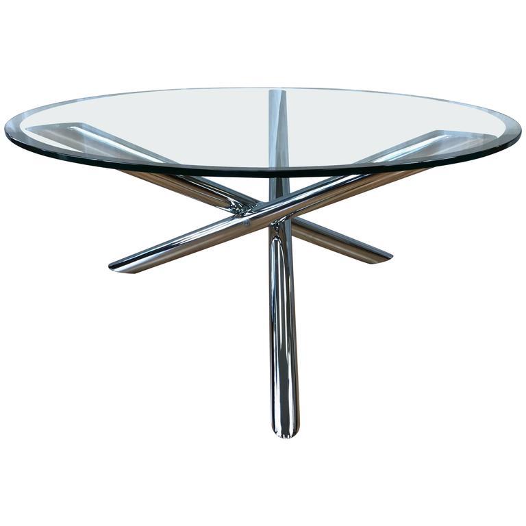 Vintage Chrome Star Base Round Glass Coffee Table
