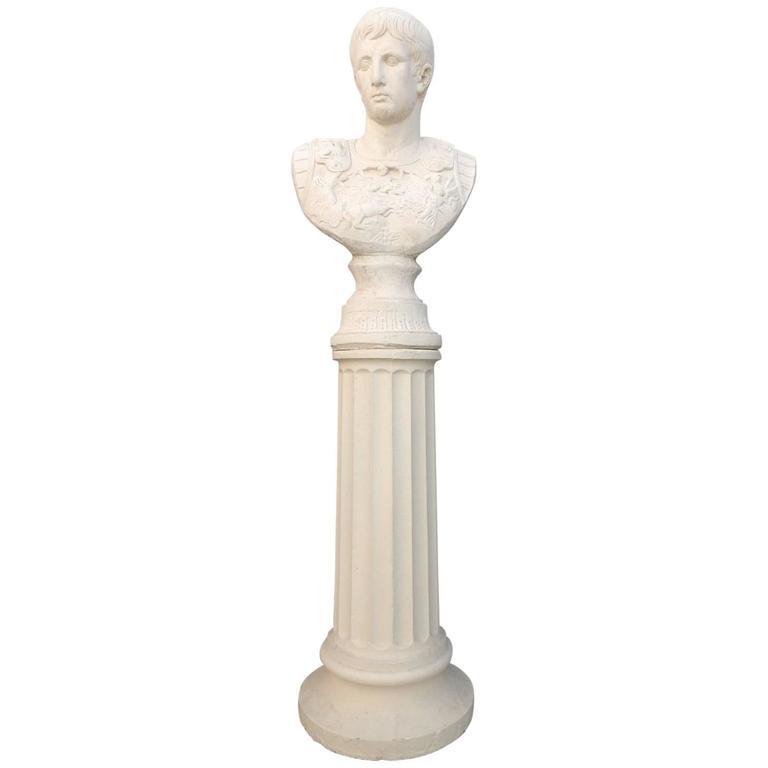 Neoclassical Julius Caesar Stone Bust Sculpture on Roman Column, 1950s