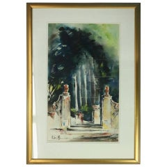 Vintage Impressionist Watercolor of Street Scene by Antimo Beneduce, circa 1930